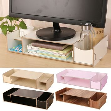 Desk Computer Display Monitor Riser Stand Placement Organizer Shelf with Storage Slots for Files Note Books Office Supplies