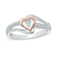 Diamond Accent Heart Promise Ring in Sterling Silver and 10K Rose Gold - View All Rings - Zales