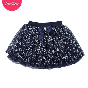 2017 Fashion spring brand domeiland Kids Clothing Girls Tutu lace Dot Skirts Chiffon Bow Children party layer Skirt clothes