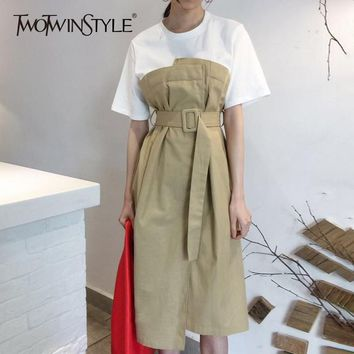 TWOTWINSTYLE Sashes Dress For Women Short Sleeve Patchwork Ruched High Waist Long Dresses Summer Female Korean Clothing