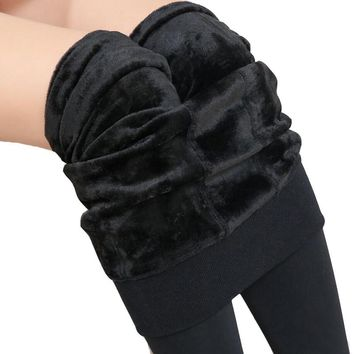 Black Fleece Lined Leggings Winter Tights Thick Warm Fur