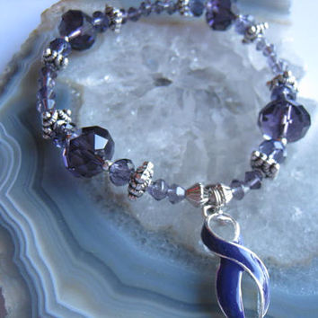 "Alzheimers & Pancreatic Cancer Bracelet (198)   6 3/4"", Harmony, Rett Syndrome, cancer awareness collection, unique visions by jen"