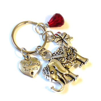Elephant Keychain - Sister Keychain - Sisters Always GIFT - IIavero - Red Keychain - Yoga - Bag Charm - Party Favors - Christmas Gift, GIFT