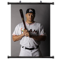 Giancarlo Stanton Miami Marlins MLB Baseball Fabric Wall Scroll Poster (16 x 24) Inches
