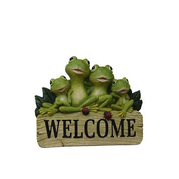 8 Inch Hanging Welcome Frog Sign