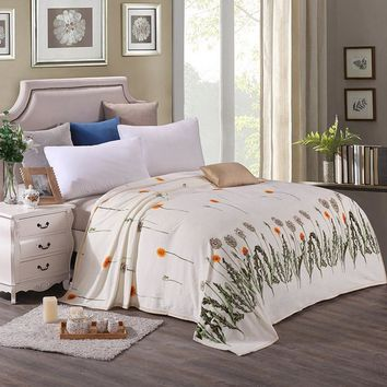 White Dandelion Styles Winter summer Soft Warm Flannel Fabric queen Blankets Adult Bedroom Bedding Sofa Bed Quilt Covered throw