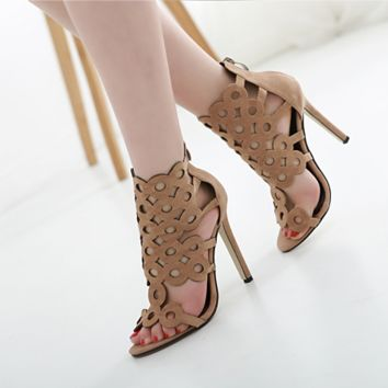 Summer Women Rome Shoes Fashion Hollow Exposed Toe High Help Sandals Heels Shoes