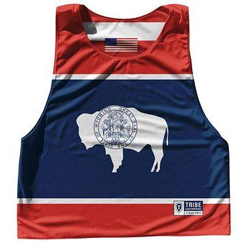 Wyoming State Flag and American Flag Reversible Lacrosse Pinnie