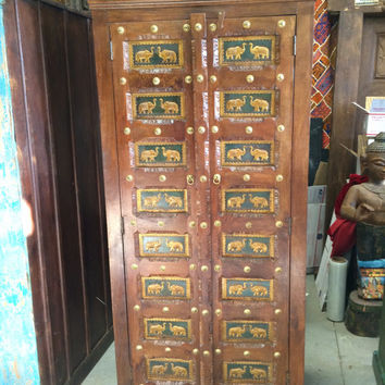 Indian Antique Vintage Armoire Old World Brass Cladded Elephant Carved Cabinet 3 Shelves