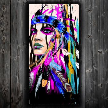 American Indian Girl Abstract Wall Canvas Purple Beauty