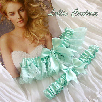 MINT4U Bridal Garters Satin and Lace delicate and by lolliecouture