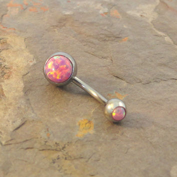 Pink Fire Opal Belly Button Jewelry Ring
