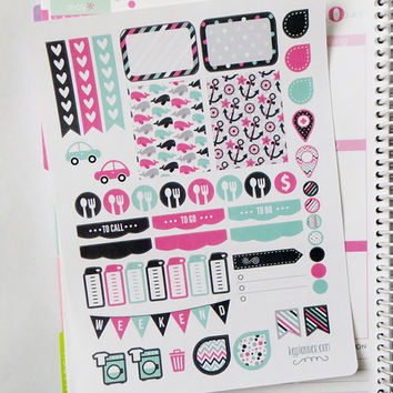 Nautical Girl Weekly Spread Planner Stickers for Erin Condren Planner, Filofax, Plum Paper