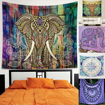 Home Wall Decor Bohemian Style Elephant Colorful Mural Tapestry Rug Beach Towel Store 48