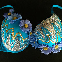 blue rave bra with sequins glitter flowers edc by moonbeamzzz