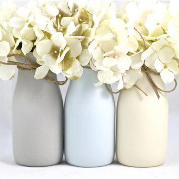 Baby Boy Shower Centerpieces Gift Blue and Gray Nursery Decor Ideas  Glass Milk Bottles Flower Vases