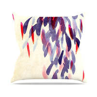 "Iris Lehnhardt ""Abstract Leaves IV"" Tan Purple Throw Pillow"