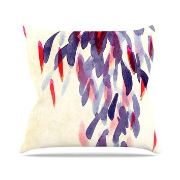 "Iris Lehnhardt ""Abstract Leaves IV"" Tan Purple Outdoor Throw Pillow"