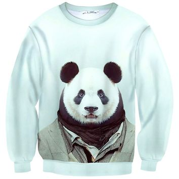 Panda Bear Dressed Up Animal Portrait All Over Print Sweatshirt Sweater