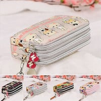 Women wallet bag purse Triple Zipper Clutch Bag Phone Case Organizer bag [10198320327]