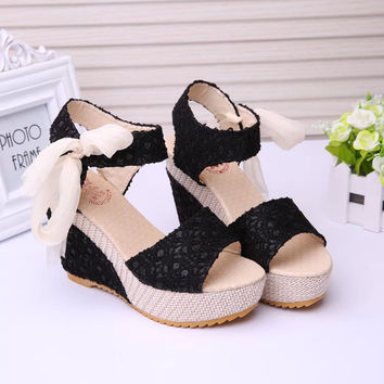 Shoes Women 2017 Summer New Sweet Flowers Buckle Open Toe Wedge Sandals Floral high-heeled Shoes  .DDN-lx-02