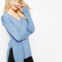 ASOS Sweater with Deep V in Cashmere Mix