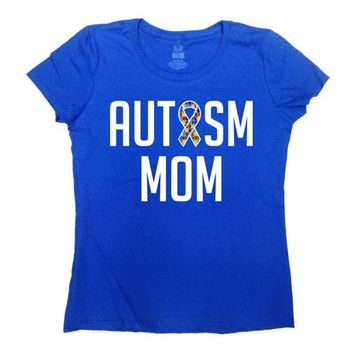 Autism Mom Shirt Awareness T Shirt Autistic Support Ribbon Mother Gift Ideas Puzzle Piece Mommy TShirt Advocate Spectrum Ladies Tee - SA768