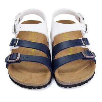 Kalete Birkenstock Leather Cork Flats Shoes Boys and girls Casual Sandals Shoes Soft Footbed Slippers