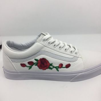 Custom Waterproof Red Rose Floral Vans, Custom Vans, Womens Vans, Unisex Vans, Roses