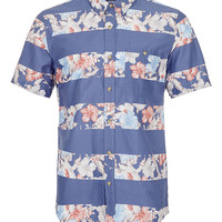 BLUE HORIZONTAL FLORAL STRIPE SHORT SLEEVE SHIRT - Men's Shirts - Clothing - TOPMAN USA