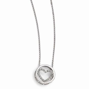 """Sterling Silver Diamond Mystique Circle w/Heart 17"""" Necklace"""
