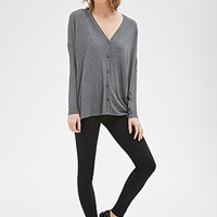 Boxy Button-Front Cardigan