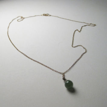 """Vintage 1/20th 12kt Gold Necklace with Petite Jade Ball Pendant - 16"""""""