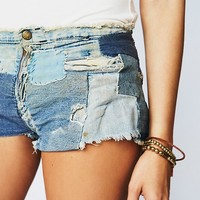Free People Vintage 1970s Patched Denim Shorts