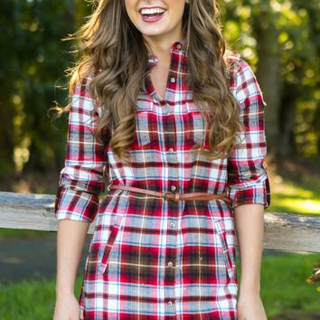 Little Miss Daisy Plaid Tunic Dress-Cherry