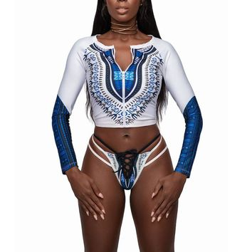 Zip Up Long Sleeve African Print Swimsuit with High-Waist Thong
