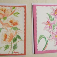 Set of 2  Floral Painted Greeting  Card, 5