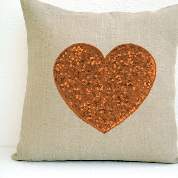 Ivory Burlap heart pillow cover - Gold sequin heart pillow - Decorative cushion cover-Valentine gift - Burlap pillow - 16X16 - Love pillow