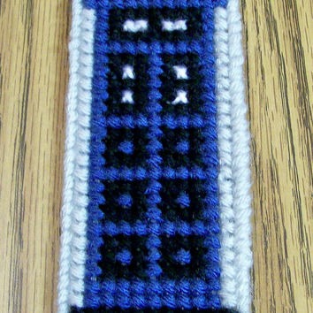 Dr. Who Bookmark, Tardis Bookmark, Plastic Canvas Bookmark, Yarn Bookmark