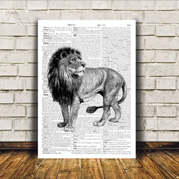 Lion poster Animal art Modern decor Dictionary print RTA20