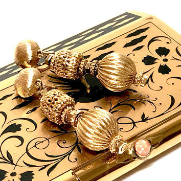 Monet Dangle Drop Earrings, Vintage, Brushed Gold Tone, Filigree Bead, Round Textured Bead, Clip On, Signed, Vintage Jewelry, Collectible