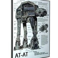 framed AT-AT Vehicle Weapon plans diagram Star Wars display