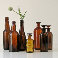 Vintage Brown Glass Bottles  Collection of 7 by BeeJayKay on Etsy