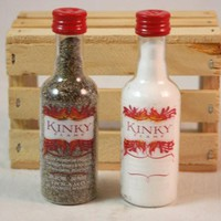 Salt & Pepper Shaker from Upcycled Kinky Flame Mini Liquor Bottles