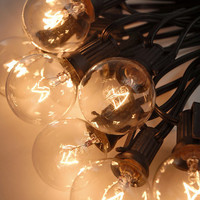 "Paper Lantern Lights (for 8"" -14"" lanterns) Clear Bulbs 25 Sockets (12"" spacing) Black Cord (28.5') $19.95 set/ 6 for $18.95 set"
