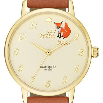 Women's kate spade new york 'metro - wild one' leather strap watch, 34mm - Brown/ Gold