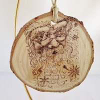 Christmas Ornament, Wood Ornament, Santa Clause, Holiday Decorations, Rustic Ornaments