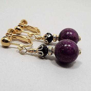 Glitter Earrings, Purple and Black, Dark Violet, Gold Plated, Drop Earrings, Fall Jewelry, Gift for Her, Clip on Earrings Lever Back Hook