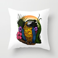 Tropical Parrot Throw Pillow by Adamzworld