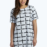 Petite Shannon Grid Print Shift Dress